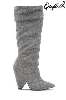 Marszczone buty wysokie Qupid ze streczem