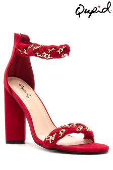 Qupid Metallic Twist Strap Sandals