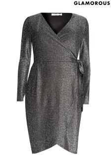 Glamorous Glitter Metallic Wrap Dress