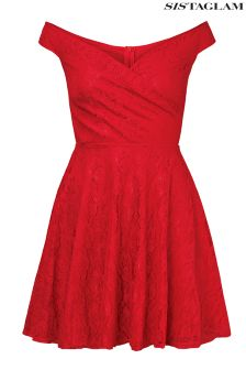 Sistaglam All Over Lace Off Shoulder Skater Dress