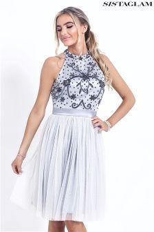Sistaglam Beaded Halterneck Prom Dress