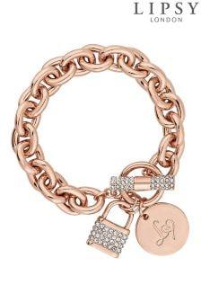Lipsy Pave Crystal Padlock Chain Bracelet