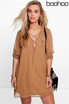 Boohoo Plus Lace Up Utility Dress