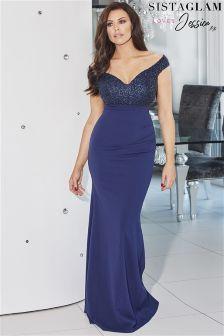 Sistaglam Loves Jessica Off Shoulder Embellished Maxi Dress