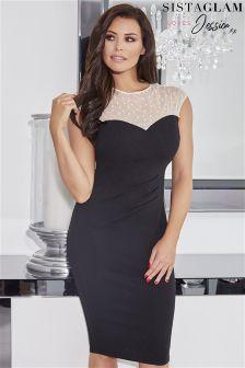 Sistaglam Loves Jessica Pearl Mesh Neckline Bodycon Dress