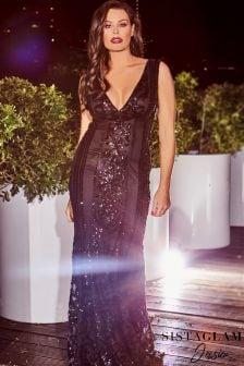 Sistaglam Loves Jessica Vip Embellished Deep V Neck Maxi Dress