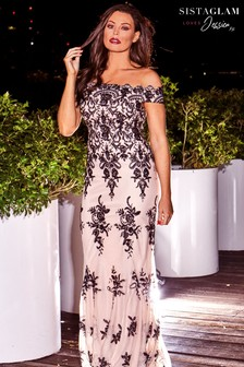 Jessica Wright Sequin Embroidered Maxi Dress