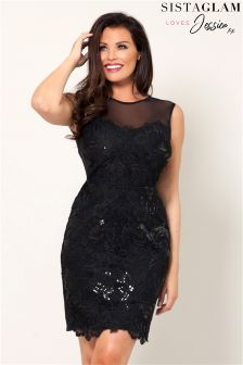 Sistaglam Loves Jessica All Over Lace Dress Mesh Neckline