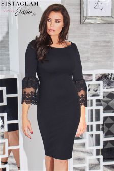 Jessica Wright Bardot Stretch Bodycon Flute Lace Dress