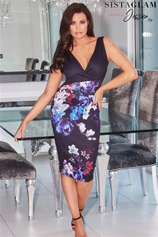 Sistaglam Loves Jessica 2 In 1 Bodycon Wrap Dress With Floral Print Skirt