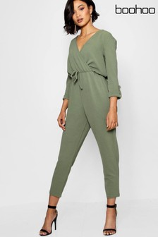 Boohoo Wrap Front Cargo Style Jumpsuit