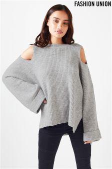 Fashion Union Cold Shoulder Funnel Sleeved Jumper