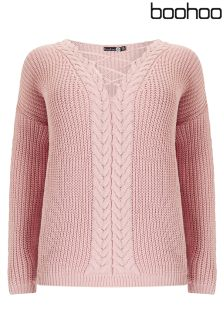 Boohoo Plus Cable Front Cross Neck Jumper