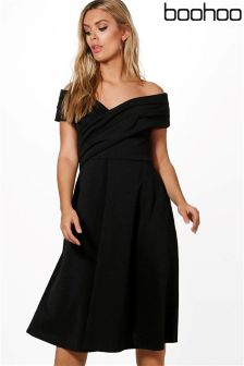 Boohoo Plus Pleated Off The Shoulder Skater Dress
