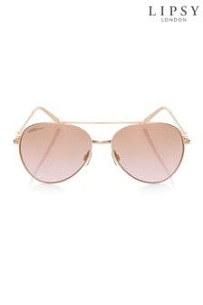 Next Eckige Sonnenbrille mit Strassdetails, goldfarben, Rose Gold