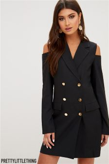 PrettyLittleThing Tuxedo Style Cut Out Shoulder Dress