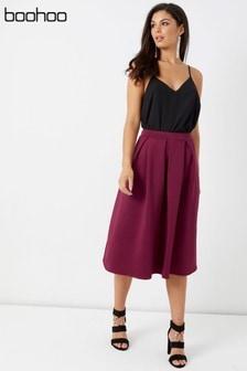 Boohoo Scuba Midi Skirt