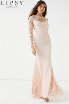 Lipsy Charly Lace Long Sleeve Maxi Dress