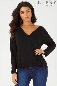Lipsy Wrap Front Long Sleeve Top