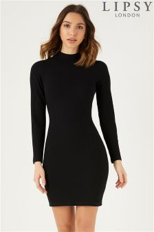 Lipsy High Neck Rib Long Sleeve Bodycon Dress