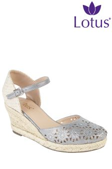 Lotus Embellished Wedge Sandals