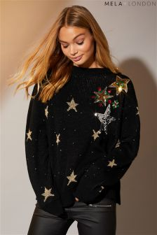 Mela London Star Sequin And Embroidery Jumper