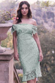Lipsy VIP Embroidered Lace Bardot Bodycon Dress