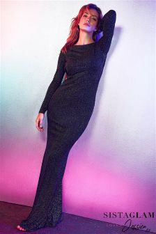 Sistaglam Loves Jessica Glitter Long Sleeve Maxi Dress