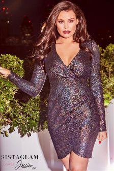 Sistaglam Loves Jessica Textured Glitter Wrap Dress