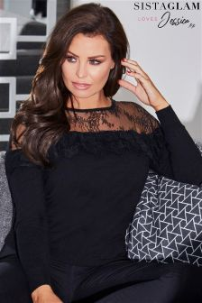 Sistaglam Loves Jessica Lace Frill Long Sleeve Knitted Jumper