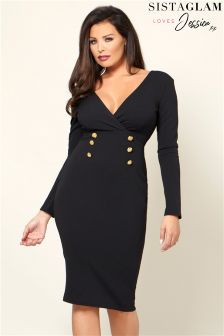 Sistaglam Loves Jessica Wrap Front Button Detail Bodycon Dress
