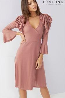 Lost Ink Frill Shoulder Fit And Flare Tea Dress