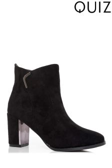 Quiz Block Heel Plated Ankle Boots