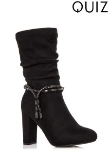Quiz Diamante Trim Heel Boots
