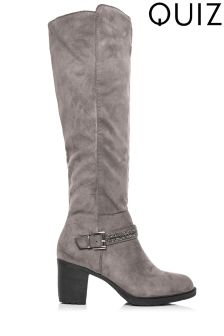 Quiz Diamanté Trim Block Heel Long Boots