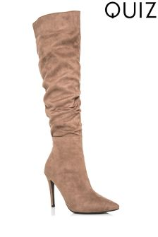 Quiz Ruched Pointed Stiletto Boots