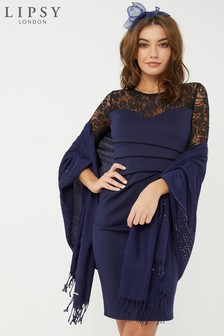 Lipsy Navy Sequin Wrap