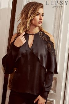 Lipsy Lace Cold Shoulder Satin Blouse