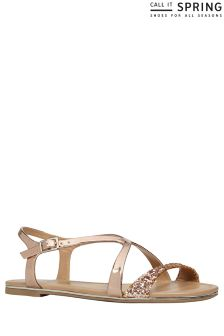 Call It Spring Flat Cross Strap Sandals