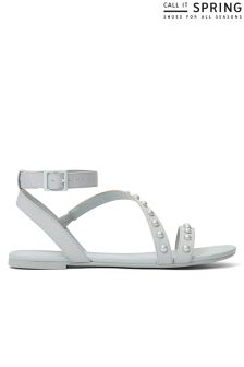 Call It Spring Flat Cross Strap Studded Sandals