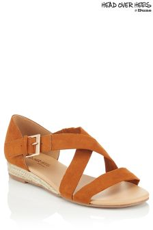 Head Over Heels Cross Strap Mini Wedges