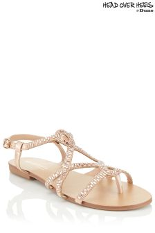 Head Over Heels Embellished Strappy Flat Sandals