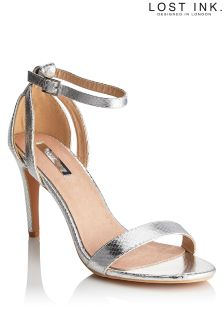 Lost Ink Metallic Two Part Barely There Heels