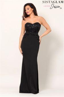 Sistaglam Loves Jessica Bandeau Sequin Lace Maxi Dress