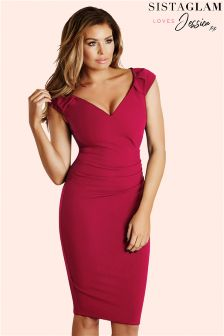 Sistaglam Loves Jessica Off The Shoulder Ruched Bodycon Dress