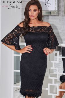 Sistaglam Loves Jessica Bardot Lace Frill Bodycon Dress
