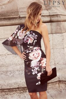 Lipsy Printed One Shoulder Bodycon Dress