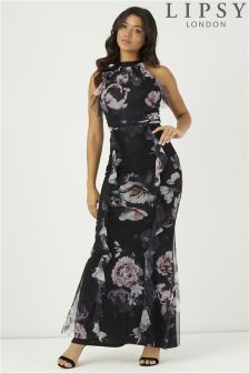 Lipsy Amber Print Halter Neck Ruffle Maxi Dress