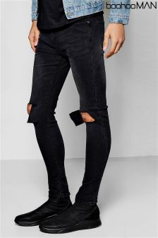 Boohoo Man Super Skinny Stretch Ripped Knee Jeans