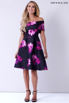 Sistaglam Floral Bardot Skater Dress